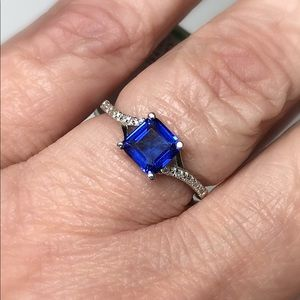 Created Blue Sapphire Sterling Silver Ring